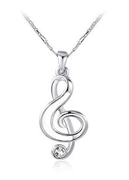 music related jewellery treble clef necklace