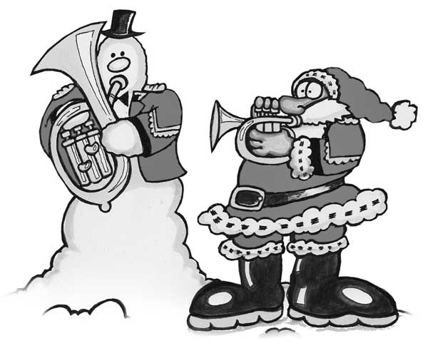 SANTA AND SNOWMAN BLACK AND WHIT