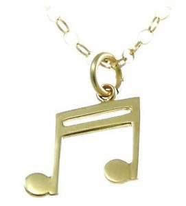 music related jewellery gold semi quaver necklace