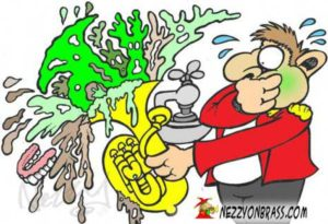 clean out your brass instrument cartoon