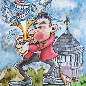 Original Artwork - Horn / Baritone Brass Band Player 'Going for it' in Red Band Jacket