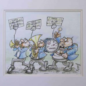 Original Artwork - Marching Band in Blue Jackets