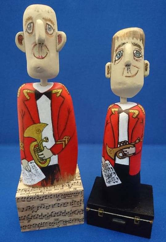 'Nezzy Drifters' - Driftwood cartoon figures by Nezzy - each one is unique.  Available on the Nezzyonbrass Shop