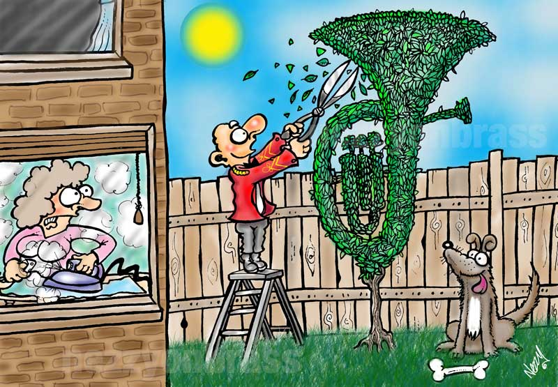 brass band arban gardening cartoon