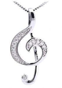 musical necklace music note jewellery - treble clef