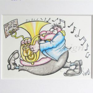 Signed Print - Marching Male Bass Player in Blue Jacket