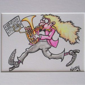 Original Artwork - Marching Lady Horn / Baritone player in Pink Jacket