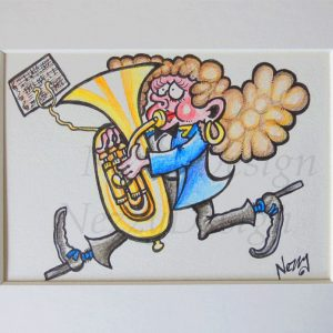 Original Artwork - Marching Lady Bass player in Blue Jacket