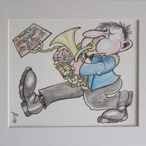 Original Artwork - Marching Euphonium Player in Blue Jacket
