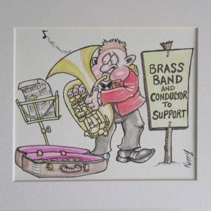 Original Cartoon Artwork - Bass Player in red Jacket Busking