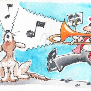 Original Artwork - Trombone and Howling Dog