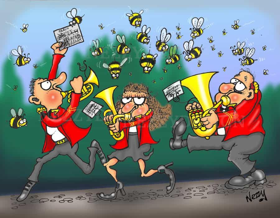 Brass instrument bees chasing and