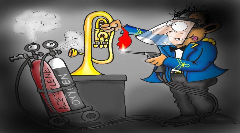 brass band mechanical freaks oxy acetylene welding cartoon