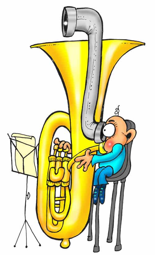BASS instrument PLAYING CHILD WITH PERISCOPE CARTOON